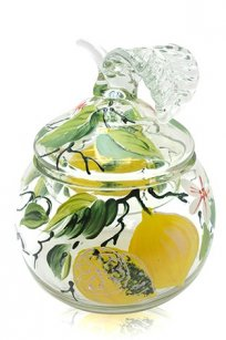 сувенир ручная роспись прозрачный Ларчик Яблоко d100.h120 мм. рис. Лимон