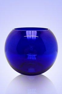 Ваза синяя Шар d135.h110 мм.