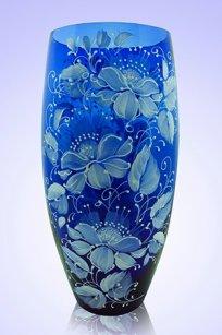 Ваза синяя Бочка d130.h300 мм. рис. № 11 (Бел.)