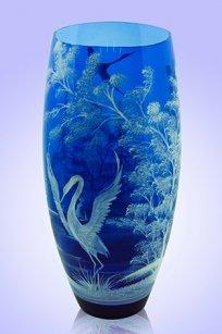 Ваза синяя Бочка d130.h300 мм. рис. № 5 (Бел.)