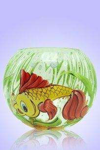 Ваза прозрачная Шар риф. d135.h110 мм. рис. Рыбка №2