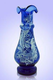 Ваза синяя С-87 h250 мм. рис. № 1 (Бел.)