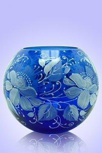 Ваза синяя Шар d180.h160 мм. рис. № 11 (Бел.)