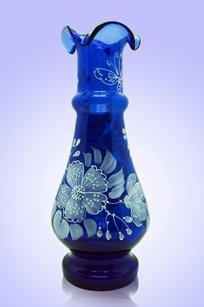 Ваза синяя С-87 h250 мм. рис. № 19 (Бел.)