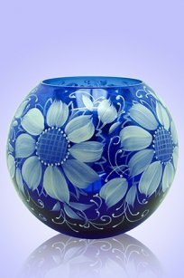 Ваза синяя Шар d180.h160 мм. рис. № 6 (Бел.)