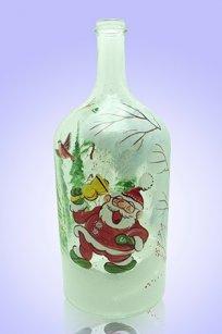 Бутыль прозрачная 2л. d120.h300 мм. рис. Дед Мороз № 1
