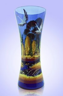 Ваза синяя С-53 h300 мм. рис. Осень