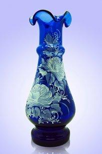 Ваза синяя С-87 h250 мм. рис. Роза (Бел.)