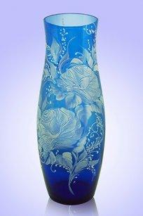 Ваза синяя С-64 h260 мм. рис. Сирень (Бел.)