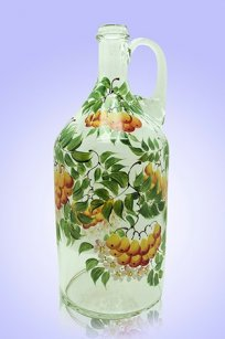 Бутыль прозрачная 2л. руч. d120.h300 мм. рис. Рябина