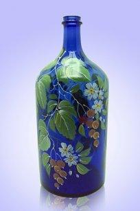 Бутыль синяя 2л. d120.h300 мм. рис. Смородина (Кр.)