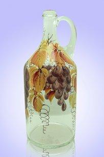 Бутыль прозрачная 2л. руч. d120.h300 мм. рис. Виноград (Фиол.)