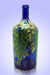 Бутыль синяя 2л. d120.h300 мм. рис. Виноград (Зел.)