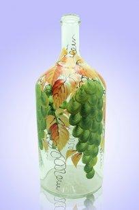 Бутыль прозрачная 2л. d120.h300 мм. рис. Виноград (Зел.)
