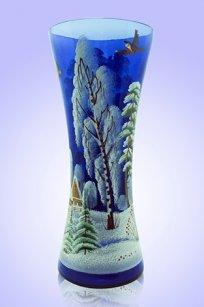 Ваза синяя С-53 h300 мм. рис. Зима
