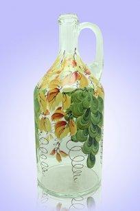 Бутыль прозрачная 2л. руч. d120.h300 мм. рис. Виноград (Зел.)