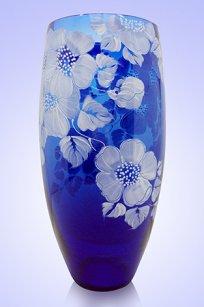 Ваза синяя Бочка d130.h300 мм. рис. № 9 Бел.
